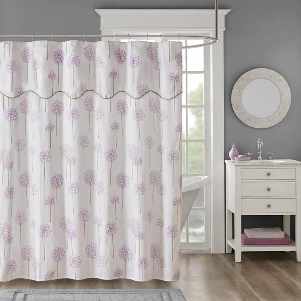 shop madison park dandelion purple cotton sateen floral printed shower curtain with valance top. Black Bedroom Furniture Sets. Home Design Ideas