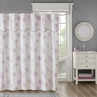 Madison Park Dandelion Purple Cotton Sateen Floral Printed Shower Curtain with Valance Top