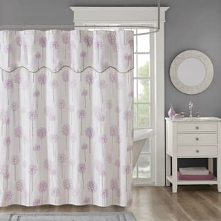 purple and gray shower curtain. Madison Park Dandelion Purple Cotton Sateen Floral Printed Shower Curtain  With Valance Top Curtains For Less Overstock Vibrant Fabric Bath