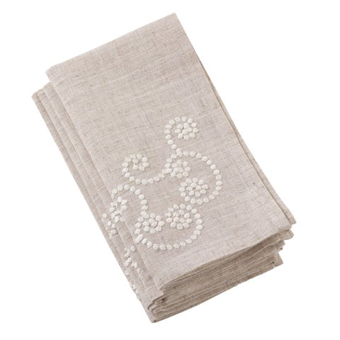 Embroidered Swirl Design Natural Linen Blend Napkin - Set of 4