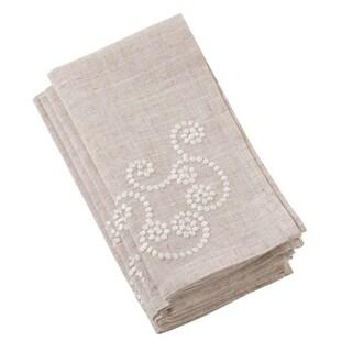 Embroidered Swirl Design Natural Linen Blend Napkin - Set of 4