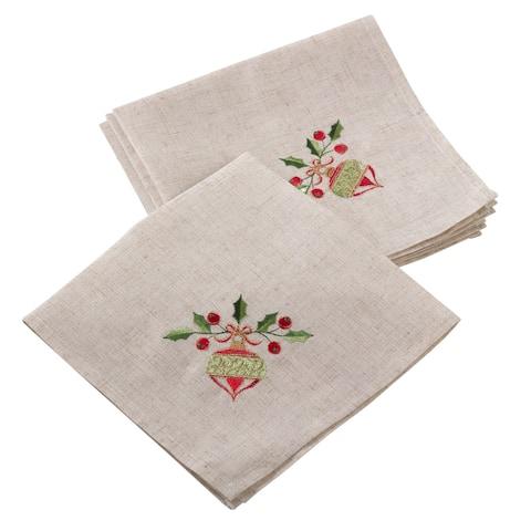 Embroidered Ornament Design Christmas Holiday Linen Blend Napkin - Set of 4