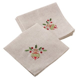 Embroidered Ornament Design Christmas Holiday Linen Blend Napkin - Set of 4