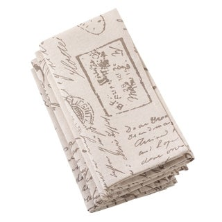 Old Fashioned Script Print Design Napkin - Set of 4