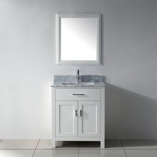 Belvedere Traditional Freestanding White 24-inch Bathroom Vanity with Marble Top