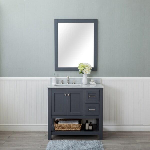 Alya Bath Wilmington Grey Wood 36 Inch Single Bathroom Vanity