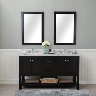 Alya Bath Wilmington Espresso 60-inch Double Bathroom Vanity With Carrera Marble Top