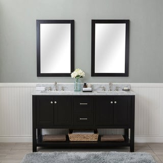 Alya Bath Wilmington Espresso 60 Inch Double Bathroom Vanity With Carrera  Marble Top