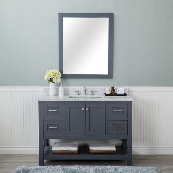 Shop Alya Bath Wilmington Grey Wood 48 Inch Single