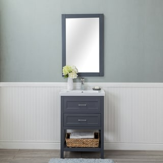Alya Bath Vineland Grey Ceramic, Wood, and Chrome 24-inch 1-drawer Single-sink Bathroom Vanity With Porcelain Top