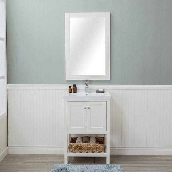 Alya Bath Vineland White With Porcelain Top 24 Inch Single Bathroom Vanity ( Doors)