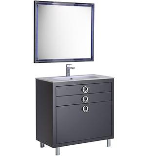 Fresca Platinum Due Glossy Cobalt 36-inch Bathroom Vanity