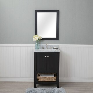 Alya Bath Wilmington Espresso Ceramic, Wood, and Nickel 24-inch Single Mirrorless Bathroom Vanity With Carrera Marble Top