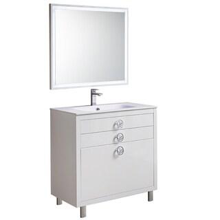 Fresca Platinum Due Glossy White 36-inch Bathroom Vanity