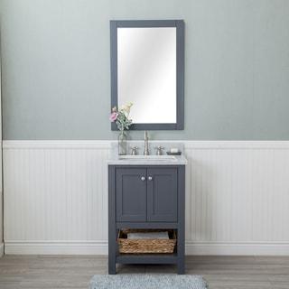 Wilmington Grey 24-inch Single Bathroom Vanity With Carrara Marble Top and No Mirror