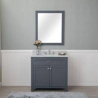 Alya Bath Norwalk Grey 36-inch Single Bathroom Vanity with Carrara Marble Top and No Mirror