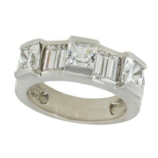 Michael Valitutti Sterling Silver Princess & Baguette Cubic Zirconia Band Ring - White