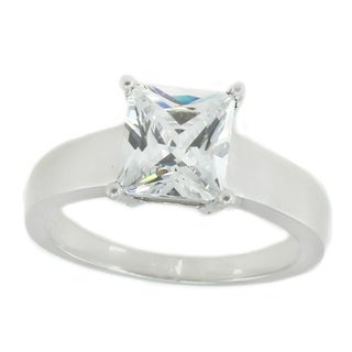 Michael Valitutti Sterling Silver Princess Cut Cubic Zirconia Ring