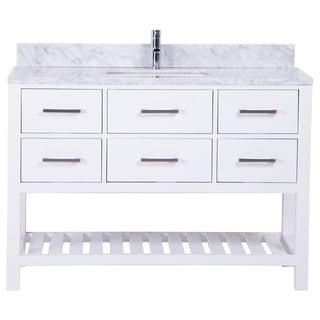 Belvedere White Oak Marble-top Traditional Freestanding Bathroom Vanity
