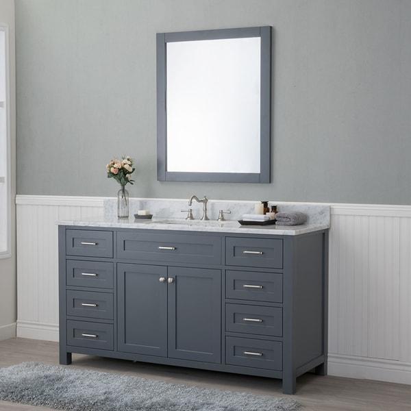 Alya Bath Norwalk Grey 60 Inch Single Bathroom Vanity With Carrera Marble Top