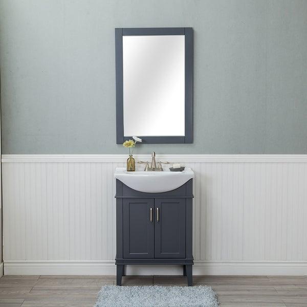 Alya Bath Lancaster Grey Ceramic, Wood, and Chrome 24-inch Center-set Single-sink Bathroom Vanity With Porcelain Top