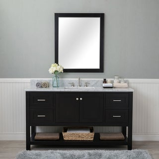 Alya Bath Wilmington Espresso with Carrara Marble Top 60-inch Single-sink Bathroom Vanity (No Mirror)