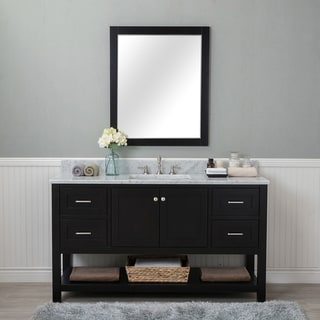 Alya Bath Wilmington Espresso With Carrara Marble Top 60 Inch Single Sink Bathroom  Vanity