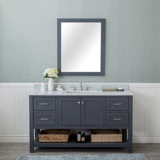 Wilmington Grey 60 Inch Single Bathroom Vanity With Carrera Marble Top And No Mirror