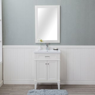 Alya Bath Lancaster White Ceramic, Wood, and Chrome 24-inch Single-hole Single-sink Bathroom Vanity With Porcelain Top