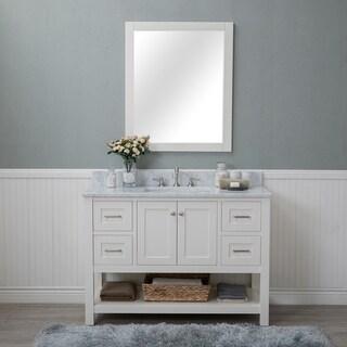 Alya Bath Wilmington White 48-inch Single Bathroom Vanity With Carrara Marble Top