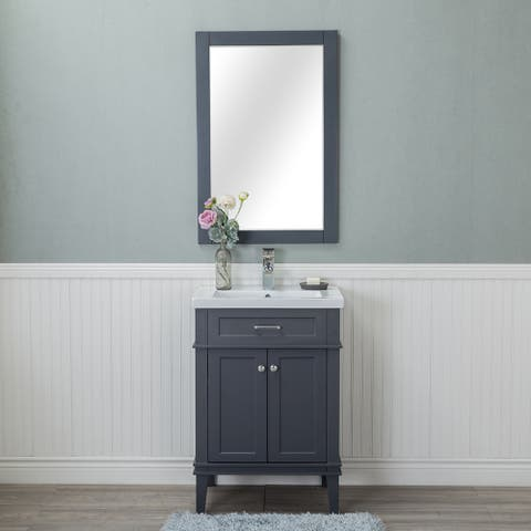 Alya Bath Lancaster Grey Ceramic, Wood, and Chrome 24-inch Single-hole Single-sink Bathroom Vanity With Porcelain Top