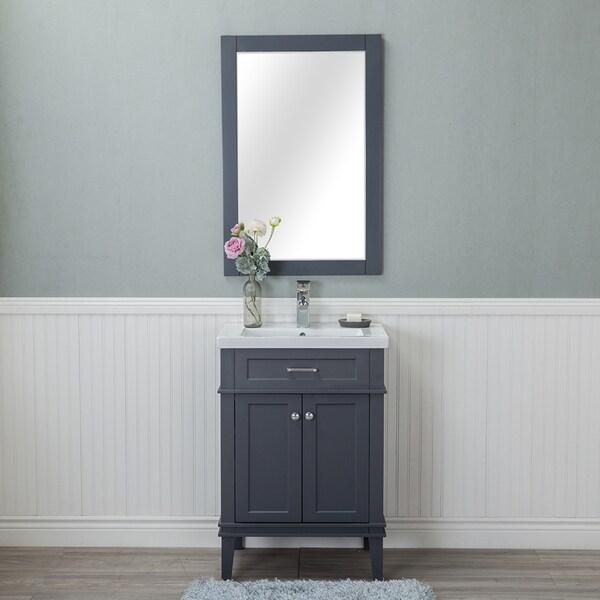Alya Bath Lancaster Grey Ceramic, Wood, and Chrome 24-inch Single-hole Single-sink Bathroom Vanity With Porcelain Top