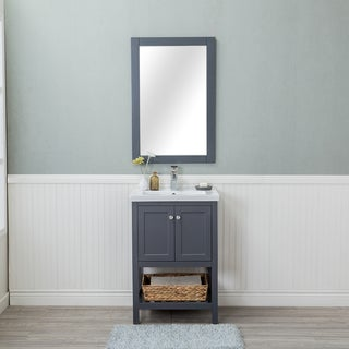 Vineland Grey 24-inch Single Bathroom Vanity With Doors and Porcelain Top