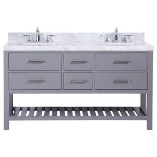 Belvedere Grey with Marble Top 60-inch Double Bathroom Vanity