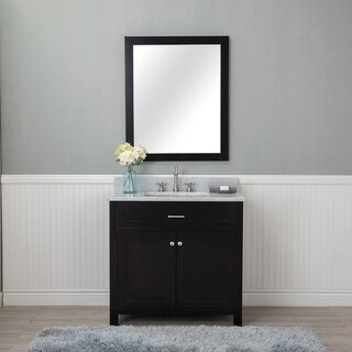 Norwalk Espresso 36-inch Single Bathroom Vanity With Carrera Marble Top and No Mirror
