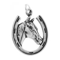 Sterling Silver Horse and Horseshoe Charm