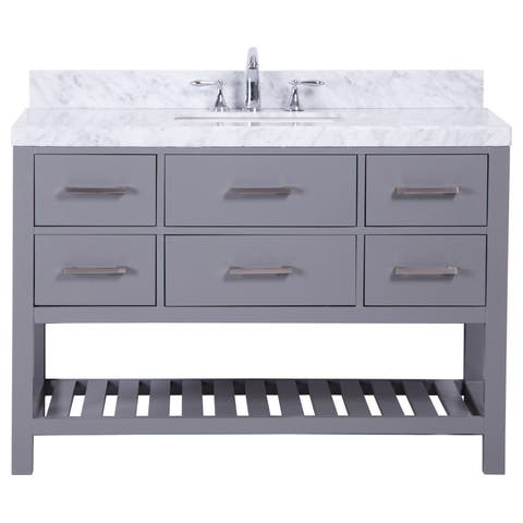 Belvedere 48-inch Traditional Freestanding Grey Marbe Top Bathroom Vanity