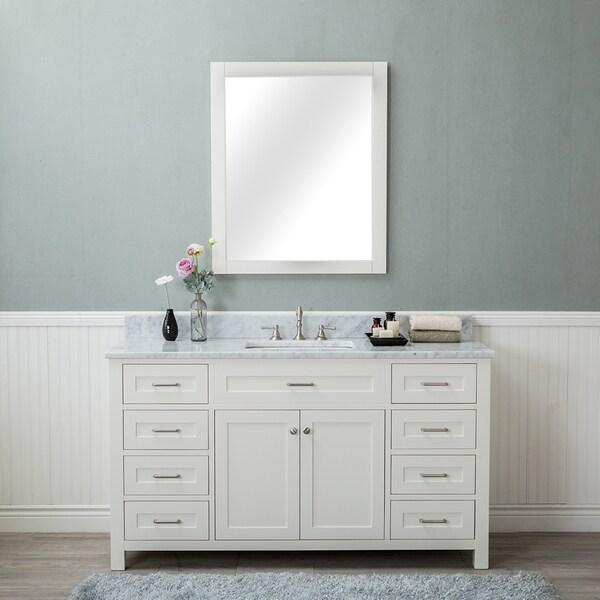 Alya Bath Norwalk White with Carrara Marble Top Single-sink Bathroom Vanity (No Mirror)