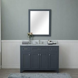 Alya Bath Norwalk Grey Ceramic, Wood, and Brushed Nickel 48-inch Single Mirrorless Bathroom Vanity With Carrera Marble Top