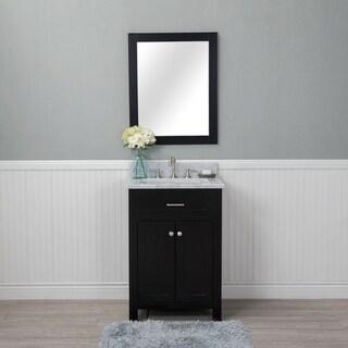 Alya Bath Norwalk Espresso Ceramic, Wood, and Chrome 24-inch Single Mirrorless Bathroom Vanity With Carrera Marble Top