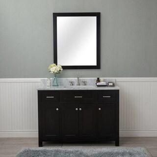 Alya Bath Norwalk Espresso 48-inch Single Bathroom Vanity With Carrara Marble Top
