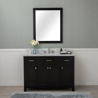 Alya Bath Norwalk Espresso 48 Inch Single Bathroom Vanity With Carrara  Marble Top