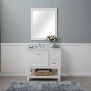 Alya Bath Wilmington White 36-inch Single Bathroom Vanity with Carrara Marble Top and No Mirror