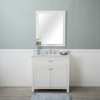 Alya Bath Norwalk White 36-inch Single Bathroom Vanity with Carrara Marble Top and No Mirror