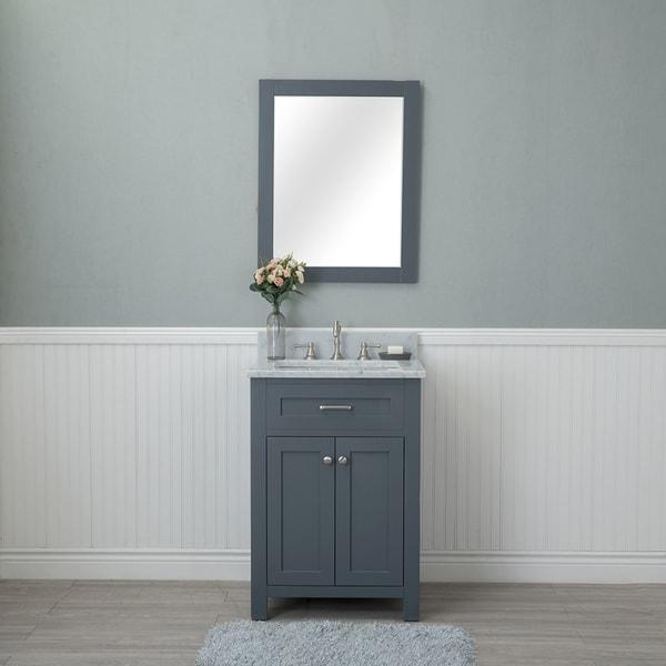 Shop Alya Bath Norwalk Grey Wood 24 Inch Single Bathroom Vanity With Carrera Marble Top And No