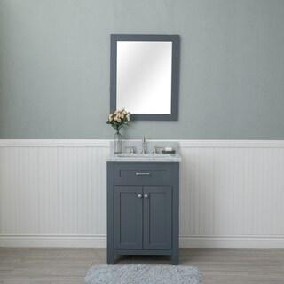 Alya Bath Norwalk Grey Wood 24-inch Single Bathroom Vanity with Carrera Marble Top and No Mirror