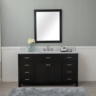 Norwalk Espresso Wood 60-inch Single Bathroom Vanity with Carrera Marble Top and No Mirror