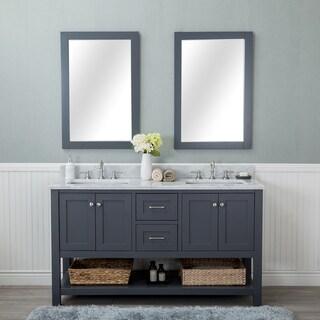 Alya Bath Wilmington Grey 60-inch Double Bathroom Vanity With Carrara Marble Top