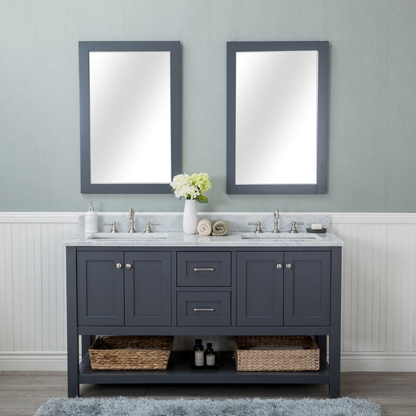 Alya Bath Wilmington Grey 60-inch Double Bathroom Vanity With Carrara Marble Top