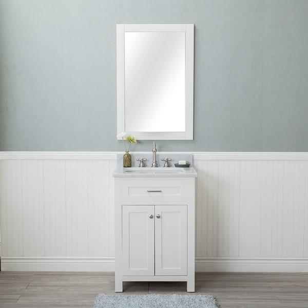 Alya Bath Norwalk White 24 Inch Single Bathroom Vanity With Carrara Marble  Top